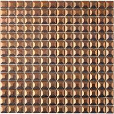solistone byzantine metal copper uniform squares mosaic metal wall tile common 12 in