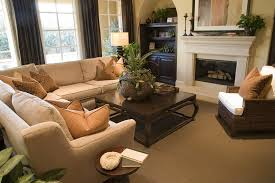 terranean inspired living room design with built in shelving in arched recessions on both sides