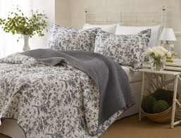 bedroom white toile bedding design with pattern bed cover and picture on outstanding blue for sheets