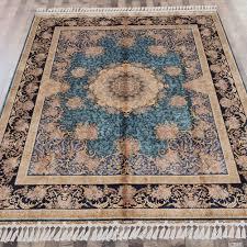 yilong 8 x10 blue handmade area rugs for living room oriental qum silk carpet