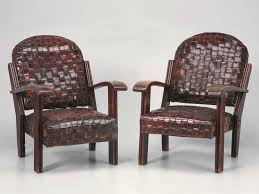 leather club chairs vintage. C.1920 Woven Leather Club Chairs Vintage