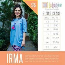 Lularoe Irma Tunic Sizing Chart Lularoe Irma Size Chart