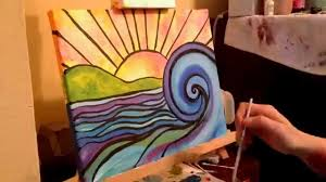 time lapse of stained glass beach painting