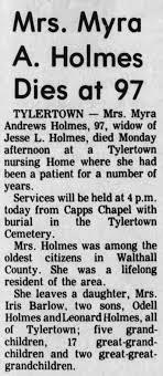 Obituary for Myra Andrews Holmes (Aged 97) - Newspapers.com