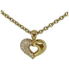 van cleef arpels 18k yellow gold diamond heart pendant necklace signed baubles ruby lane