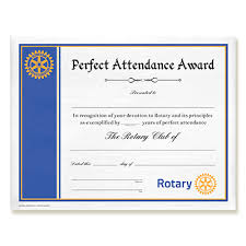 Attendance Award Template Rotary Customized Perfect Attendance Certificate Rotary