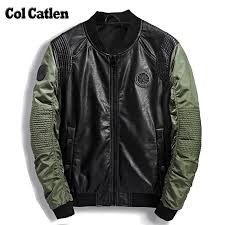 high quality leather jacket men new brand autumn designer fashion stand collar pu motocycle jackets green flying pilot coats 3xl mens jackets with hood w