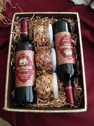 wine gift basket nuts are a good idea to add to the wine basket themed