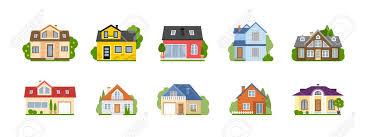 Isolated Cartoon Houses Set Simple Suburban Houses Concept