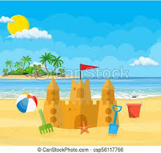Beach ball in sand My Cute Graphic Sand Castle Csp56117766 Alamy Summer Vacation Sand Castle Bucket Of Sand And Beach Ball On