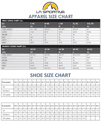la size la sportiva size guide for outdoor clothing and equipment