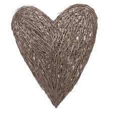 extra tall hand made love heart brown grey wicker wall hanging decoration