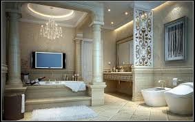 Download Marvelous Design Ideas Romantic Master Bathroom Teabjcom - Tv for bathrooms