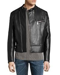 dsquared2leather café biker jacket black