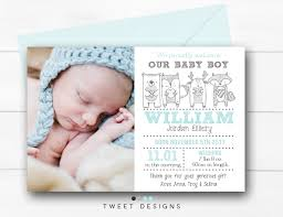 Baby Boy Thank You Cards Birth Announcement Boy Woodland Birth Announcement Baby Boy Thank