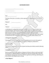 sample letter of intent form template business agreement sample letter