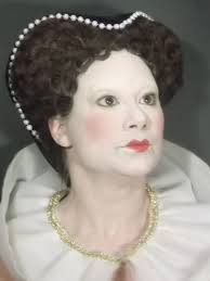 elizabethan era high society period make up makeup the foundation is kryolan ultra foundation palette mostly tv white and the blush and lipstick is also