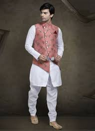 Half White Kurta Design Off White Silk Jacket Style Mens Churidar Kurta Pyjama