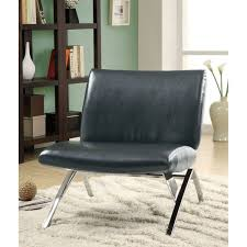 leather and chrome chair. Black Leather-Look / Chrome Metal Modern Accent Chair Leather And O