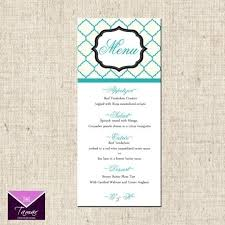 Printable Menu Card Printable Menu Card For Wedding Shower Dinner Party Custom Within In