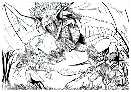 Dragon Hunter Dragons Adult Coloring Pages