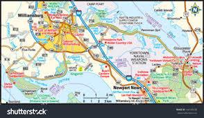 williamsburg virginia area map stock vector   shutterstock
