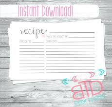 Recipe Blank Template Printable Recipe Card Free Vector Format Page Template Blank