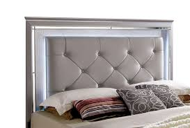 Bellanova Contemporary Style Cal King Bed Silver Finish W/ LED U0026 Mirrored  Trim