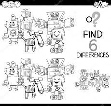 Verschillen Met Robots Kleurplaat Pagina Stockvector Izakowski