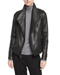 vinceleather asymmetric moto jacket black
