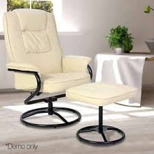 home office arm chair. Office Glider Armchair PU Leather Arm Lounge Chair Recliner Ottoman Couch Beige Home