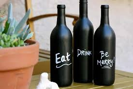 DIY Wine Bottle Art with Chalkboard Paint