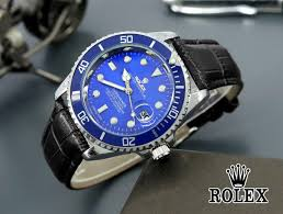 jam tangan pria cowok rolex submariner leather strap black blue