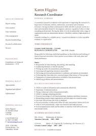 Survey Researcher Sample Resume Cool Research Coordinator CV Sample