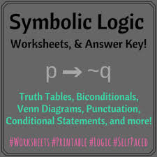Write A Conditional Statement From The Venn Diagram Symbolic Logic 4 Worksheets Answer Key