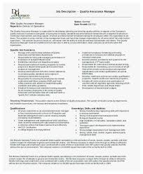 Qa Manager Resume Unique Quality Assurance Manager Job