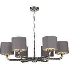 sloane dual mount 6 arm pewter ceiling light with charcoal grey silk shades
