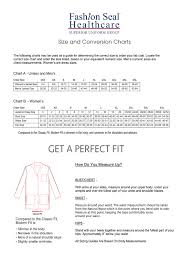 Fashion Seal Healthcare Labcoat Size Chart