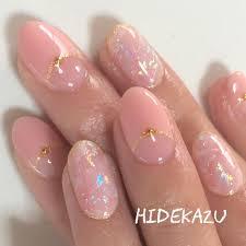 ピンク天然石 神秘的なキラキラ感がとても綺麗なネイルです3