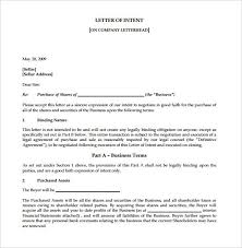 Letter Of Intent Business Template