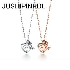 tifforiginal classic rose 100 to 925 sterling silver ms golden heart key pendant necklace jewelry