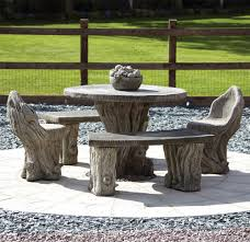 garden furniture woodlands stone benches table patio set