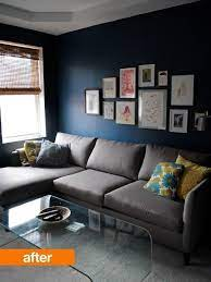 living room grey couch blue walls
