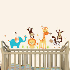 gray orange jungle wall decals for nursery with giraffe wall decal for nursery or baby