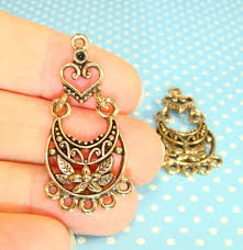 4 chandelier earring parts hearts flowers findings jointed components 2 pair gold plated pewter usa made jewelry supplies charms 38394g