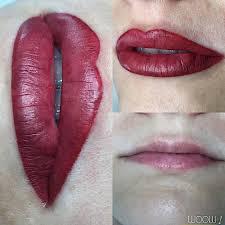перманентный макияж губ фото сразу после процедуры после