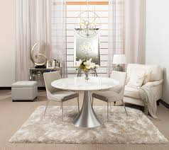 caliso marble aluminium dining table with dove fabric chairs