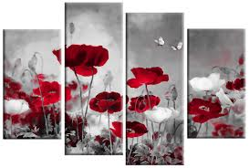 on poppy wall art uk with red grey field poppies floral 4 panel canvas wall art 40 inch 101cm