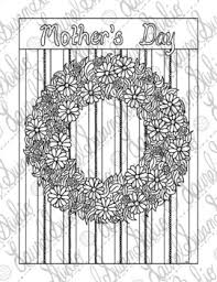 Mothers Day Coloring Page Floral Wreath Adult Coloring Spring