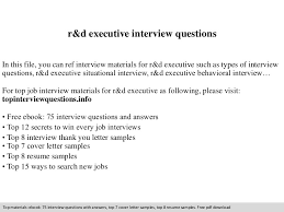 Sample Resume Questions Classy Rd Executive Interview Questions